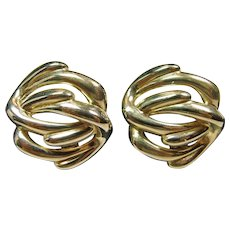 Givenchy Silver Tone Double Knot Clip Earrings