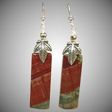 Natural African Bloodstone with Pyrite in Sterling Silver Earrings