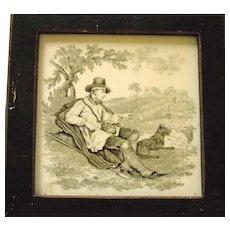 Minton's Tile Shepherd with His Dog 1850's