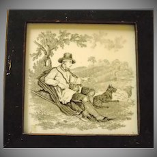 Minton's Tile Shepherd with His Dog 1850's