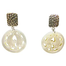 Sterling Silver and Carved  MOP Earrings for Pierced Ears