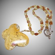 Mookaite Jasper Butterfly Pendant on Necklace of Citrine and Sunstones