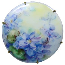 Victorian Porcelain Pin Painted with Lavender Flowers and Green Leaves