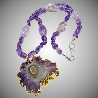 Amethyst Necklace with Solar Amethyst Crystal Quartz Stalactite Pendant