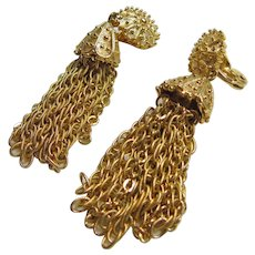 Monet Gold Tone Tassel Clip Earrings
