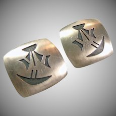 Sterling Silver Native American Clip Earrings