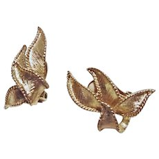 Brushed Gold Tone Metal Ribbon Motif Clip Earrings