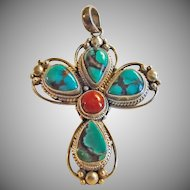 Dark Green Turquoise and Red Coral Sterling Silver Stylized Cross Pendant