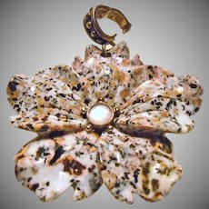 Carved Jasper Flower and Sterling Silver Pendant