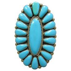 Zuni Sleeping Beauty Turquoise Large Cluster Ring