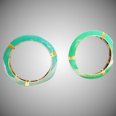 Two Bangle Bracelet Decorated in Dark Green and Dark Aqua