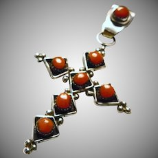 Zuni Sterling Silver and Red Coral Cross