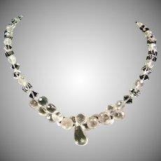 Rose Quartz Briolette and Clear Quartz Dice Beads Necklace