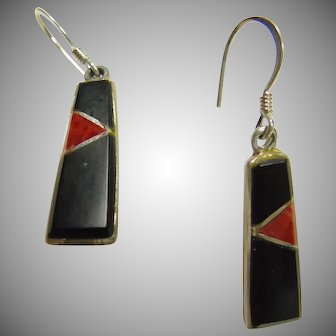 STerling Silver Earrings with Red and Black Inlay