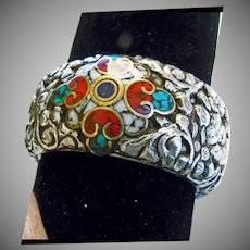 Tibetan Bone Bangle Bracelet with Sterling Repousse Decoration