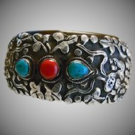Tibetan Bangle Bracelet with Sterling Silver Repousse Decoration