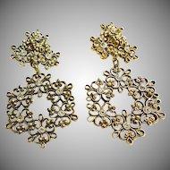 Gold Tone Floral Filigree Chandelier Clip Earrings