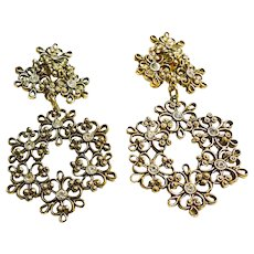 Gold Tone Floral Filigree Chandelier Clip Earrings
