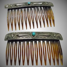 Sterling Silver and Turquoise Decorated Hair Combs
