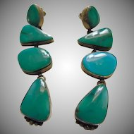 Special Sale ------Stunning Southwestern Turquoise and Sterling Silver Drop Style Earrings