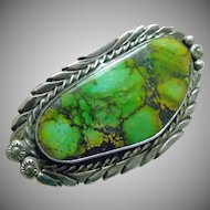 Stunning Native American Sterling Silver and Green Turquoise Ring