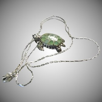 Sterling Silver Turtle with Green Enamel on Sterling Silver Chain