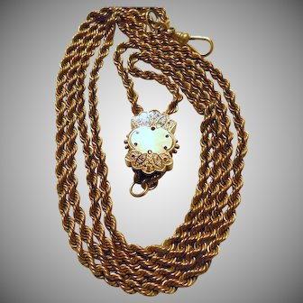 Victorian Gold Filled Watch Chain with Large Slide