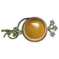 Victorian Photo Frame Brooch with Faux Turquoise