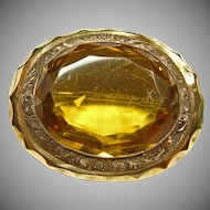 Victorian Rolled Gold Brooch with Topaz Color Stone