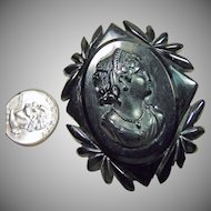 Large Black Bakelite Cameo