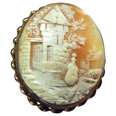 Large Rebecca at the Well Cameo Brooch