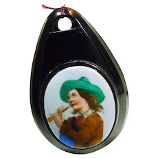Victorian Jet Pendant with Boy with Flute on Porcelain Plaque