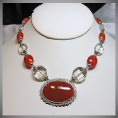 Czech Choker Necklace of Faux Carnelian and Crystal