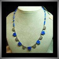 Faux Lapis and Marcasite Art Dec Style Necklace