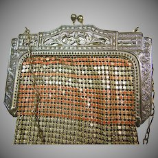 1920s Whiting and Davis Enamel on Metal Mesh Purse