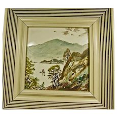 Four Hand Painted and Framed Tiles with Oriental Theme