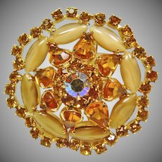 Weiss Butterscotch and Citrine Rhinestone Brooch