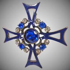Blue Enamel Maltese Cross Brooch with Blue and White Rhinestones
