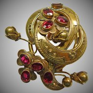 Vintage Gold over Brass Dress Clip with Faux Garnets
