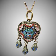 1920's Heart Shape Micro Mosaic Pendant and Chain