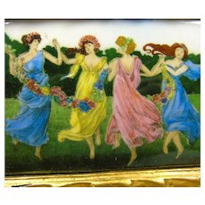 Enamel on Metal Picture of May Day Dancers