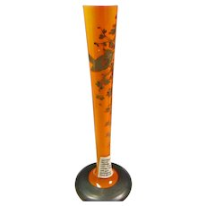 Czech Orange Case Glass Vase with with Silver Decoration