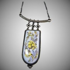 Enamel on Metal Floral Plaque in Gun Metal Grey Necklace