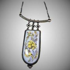 Enamel on Metal Floral Plaque in Gun Metal Grey Necklace