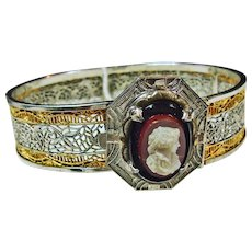 1915 Cuff Bracelet with Faux Hardstone Cameo