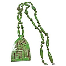 1920's Molded Glass Egyptian Necklace and Pendant