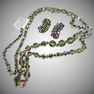 Black  Iridescent Rainbow Crystal Necklace and Earrings