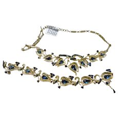 Coro Brushed Metal and Dark Blue Rhinestone Necklace and Bracelet