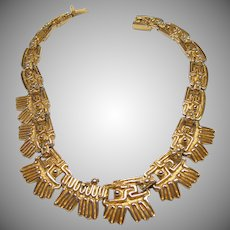 Rare SALVADOR TERAN Mexican Aztec Textured Gold Tone Link Necklace