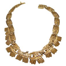 Rare SALVADOR TERAN Mexican Aztec Textured Gold Tone Link Necklace